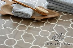 Chatham 3 in Stone   New Ravenna Mosaics- this in combination with black and white marble for flooring.