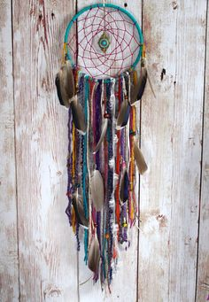 Large Dreamcatcher  Boho Dream Catcher  Bright  by VagaBoundPeople