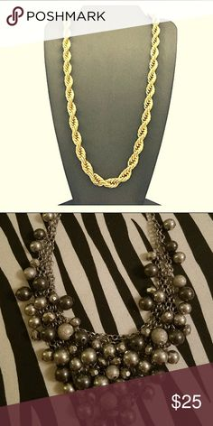 """Hip Hop 80' Unisex Rapper's 8mm 24"""", 30"""" Rope Brand new never worn Hip Hop gold chain.  New York & Company silver and black beaded V-necklace. Jewelry Necklaces"""