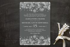 """Twinkling Lights"" - Elegant, Classical Wedding Invitations in Seagreen by Erin Deegan."