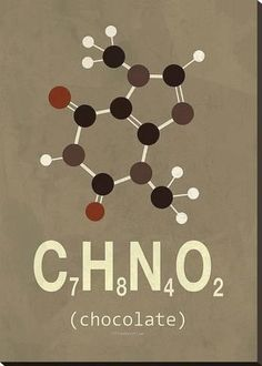 stretched canvas print molecule chocolate by typelike 42x30in bellini science chemistry organic