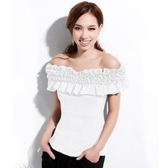 Summer Off Shoulder Boat Neck Flounce Elastic Waist Top Layered Fashion, Trendy Fashion, Fashion Art, Ruffle Top, Ruffle Blouse, Trendy Tops, Different Styles, Elastic Waist, Your Style