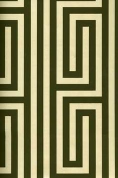 Create a bold geometric accent wall with this classic greek key pattern. Make it modern with mid century furniture and bold color accents.   Find it at AmericanBlinds.com
