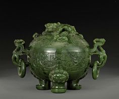 A spinach jade tripod censer and cover - China
