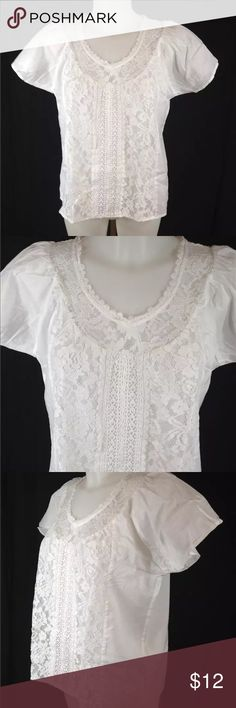 "NWOT VS Cotton Lace Boho Top NWOT VS white cotton boho top with lace. Bust 22"" across, 24"" length. Victoria's Secret Tops Blouses"