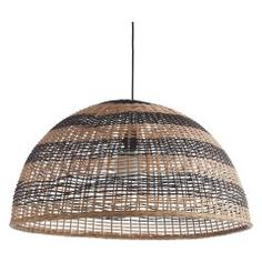 Rattan Ceiling Light: SIRA Large black and natural rattan ceiling light shade,Lighting