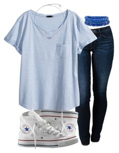 """""""school tomorrow:((("""" by maryesterrr ❤ liked on Polyvore featuring THVM, H&M, Converse and Kendra Scott"""
