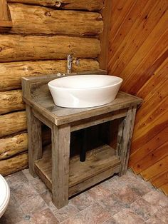 Photo Album Website Add some interest to the white box in the bathroom with a custom reclaimed wood vanity Kitchens Cabinets and looks we love Pinterest Wood vanity and