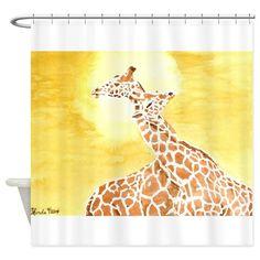 Entangled Giraffes Shower Curtain on CafePress.com