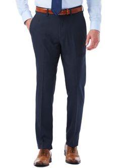Haggar Dark Blue EXS Stretch Performance Slim Fit Melange Gabardine Suit Pants
