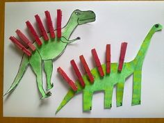 Dinosauři z kolíčků - Kreativní inspirace