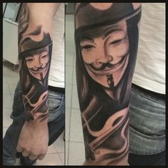 V for vendetta tattoo. Black and grey tattoo by Mael tattoo