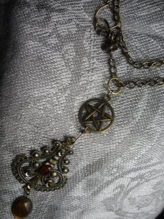 Bronze Pentacle Victorian Steampunk Filagree Necklace Upcycled Handmade Findings