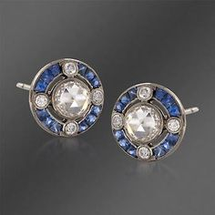 Kwiat 1.40 ct. t.w. Sapphire and .85  ct. t.w.  Diamond Circle Stud Earrings in 18kt White Gold