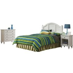 Home Styles 5543-6016 Bermuda Brushed Headboard with Night Stand and Chest, King, White