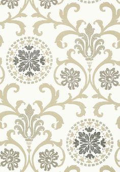 Banyan - Grey and Neutral wallpaper, from the Caravan collection by Thibaut Kitchen Wallpaper Patterns, Home Wallpaper, Pattern Wallpaper, Backsplash Wallpaper, Wallpaper Ideas, Linen Wallpaper, Kitchen Backsplash, Damask Curtains, Neutral Wallpaper