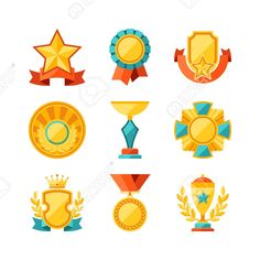 Trophy And Awards Icons Set In Flat Design Style Royalty Free Cliparts, Vectors, And Stock Illustration. Image 30402374.