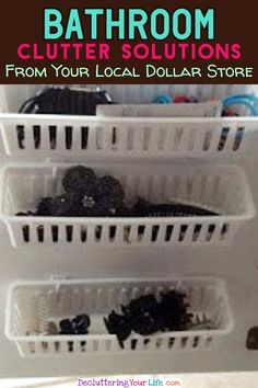 Bathroom Clutter Solutions From your Local Dollar Store (storage and organization, decluttering tips, organizing ideas) Bathroom Storage Solutions, Small Bathroom Organization, Diy Bathroom Decor, Bath Storage, Bathroom Ideas, Dollar Tree Organization, Organizing Ideas, Organization Hacks, Dollar Store Crafts