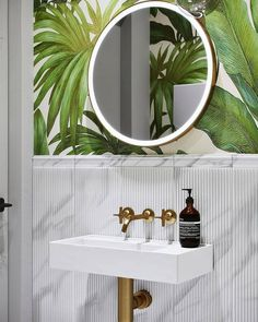 Beautiful Breathtaking Powder Room Ideas - Avionale Design 10 Gorgeous and Modern Powder Room Design Ideas We shares powder room design and decorating ideas in every style, including vanities, sinks, mirrors, decor and more. Bad Inspiration, Bathroom Inspiration, Interior Inspiration, Modern Powder Rooms, Tropical Bathroom, Powder Room Design, Room Tiles, Bathroom Interior, Bathroom Grey