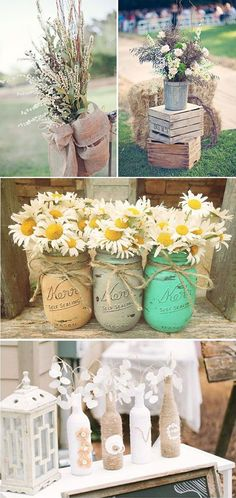Mason Jars, Painted Mason Jars, Flower Vases, Rustic Wedding Decor, Home Decor… Mason Jar Lanterns, Mason Jar Flowers, Flower Vases, Table Flowers, Flower Pots, Flower Arrangements, Wedding Centerpieces, Wedding Decorations, Table Decorations