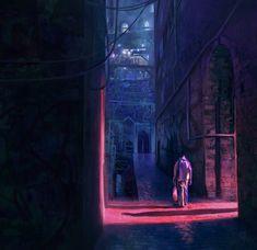 Night Errand, Eric Pfeiffer on ArtStation at https://www.artstation.com/artwork/VYrqX painting. concept art. digital painting. digital art. concept environment. mood. cyberpunk. illustration. scifi. light. alleyway. city. night.