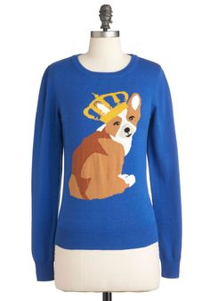 Corgi Master of the House Sweater in Blue