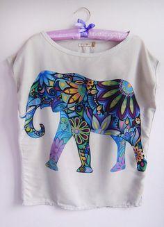 Kup mój przedmiot na #vintedpl http://www.vinted.pl/damska-odziez/bluzki-z-krotkimi-rekawami/11867218-oryginalna-bluzka-na-krotki-rekaw-t-shirt-print-nadruk-kolorowa-orientalny-wzor-orient-slon