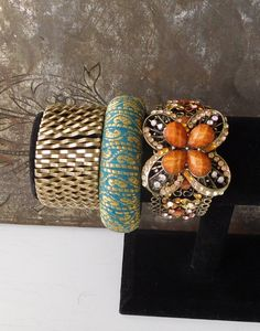 Large Wide Cuffs Brass Gold Tone Fabric Bangle Rhinestone Bracelet Elastic Jewelry Bohemian Bangle Hippie Boho Style Indie Folk Festival by LandofBridget on Etsy