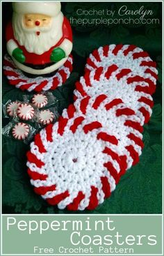 Crochet Tutorial Patterns Peppermint Coasters Free Crochet Pattern - These coasters are great gifts for anyone on your list. The Peppermint Coasters Free Crochet Pattern is a great way to use up leftover yarn. Crochet Placemats, Crochet Doilies, Crochet Edgings, Crochet Motif, Crochet Gifts, Diy Crochet, Thread Crochet, Crochet Cape, Crochet Shirt