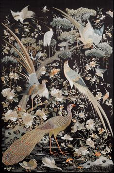 China, pair of embroidered hongmu screens century, probably Jiaqing/Daoguang, silk threads, 6 Japanese Patterns, Japanese Art, Chinese Painting, Chinese Art, Chinese Embroidery, Chinoiserie Wallpaper, Asian Art, Bunt, Oriental