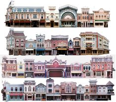 DL Main Street and Tomorrowland In HO - Disney Railroads Discussion Board Disneyland Main Street, Vintage Disneyland, Disneyland Paris, Planet Coaster, Building Drawing, Westerns, Parking Design, Paper Models, Picture Link