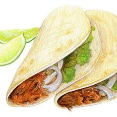 Taco Art // Food Illustration // Archival Print by KendyllHillegas
