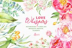 Love Whispers. Floral Collection by OctopusArtis on @creativemarket