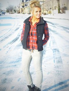 Black puffy vest and flannel!