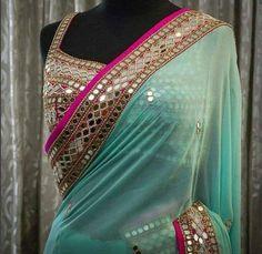 Sari Design, Saris Indios, Mirror Work Saree Blouse, Sari Blouse, Mirror Saree, Bollywood Designer Sarees, Bollywood Style, Bollywood Sarees Online, Bridal Sari