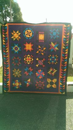 My star quilt finished (Dreadful photo thanks to the sun)