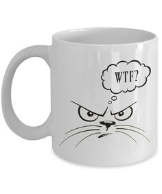 Check out the latest addition to my #etsy shop: WTF Cat mug.  FREE SHIPPING! Get Yours Here ==> https://etsy.me/2ycPzna  #housewares #white #yes #ceramic #catmug #wtfmug #funnykittycup