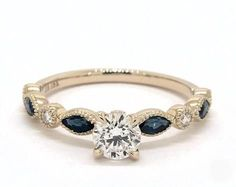 .4ct Round Side Stone Engagement Ring in Yellow Gold - See it in 360 HD SuperZoom!