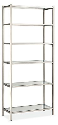 With a nod to Art Deco and mid-century styles, Brixton's hand-welded stainless steel frame supports sturdy glass shelves for a storage collection that yields an unexpectedly bright and airy design.