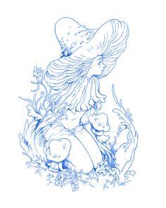 """Mushroom fairy, drawn in Procreate. Mushroom Drawing, Mushroom Art, Pretty Art, Cute Art, Aesthetic Art, Art Inspo, Art Sketches, Art Reference, Amazing Art"