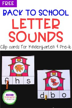 These Back to School Letter Sounds Clip Cards are perfect for working on short vowel sounds as well as initial sounds. Easy to prepare and fun for your kids to play with as well. Great way to work on letter sounds to identify both upper and lower case letters. Clip cards are a great alternative to Kindergarten worksheets too! #learningactivities #backtoschool #kindergarten #prek #preschool