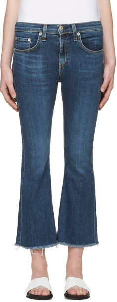 RAG & BONE Indigo Frayed Flare Jeans. #ragbone #cloth #jeans