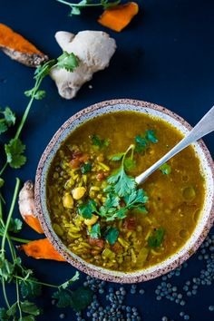 Turmeric Broth Detox Soup- A fragrant, healing broth with rice, kale, lentils, chickpeas and cilantro! | www.feastingathome.com