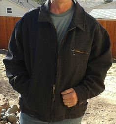 PENDLETON Wool Coat Jacket MEN'S Thinsulate zip front XL MADE IN USA Vintage #Pendleton #BasicCoat