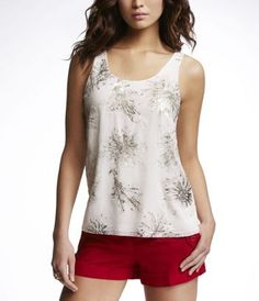 embellished chiffon overlay floral tank from express, $44.90