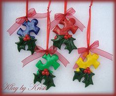 Autism Awareness Puzzle Piece Christmas Ornaments, Great Holiday Teacher Gift, Set of 4