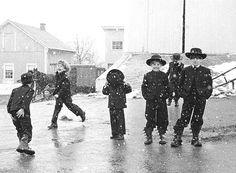 Amish Children Amish Children Playing in Snow, Lancaster, Pennsylvania, 1969