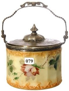 Antique Pairpoint Glass | Pairpoint Glass; Biscuit Jar, Pink Rose, Silver Plate Lid, 6 inch.