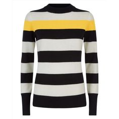 Jaeger Jaeger Wool Cashmere Stripe Sweater (665 RON) ❤ liked on Polyvore featuring tops, sweaters, striped crew neck sweater, color-block sweater, cashmere sweater, cashmere crewneck sweater and woolen sweater