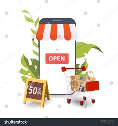 Mobile Phone Mobile Store Concept Awning Stock Vector (Royalty Free) 1824949439 Phone Store, Royalty Free Stock Photos, Banner, Concept, Treats, Illustration, Image, Banner Stands, Sweet Like Candy